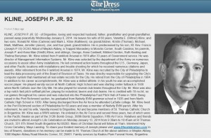 Mr. Joseph P. Kline, Jr. Died on Wednesday, Jan. 8.