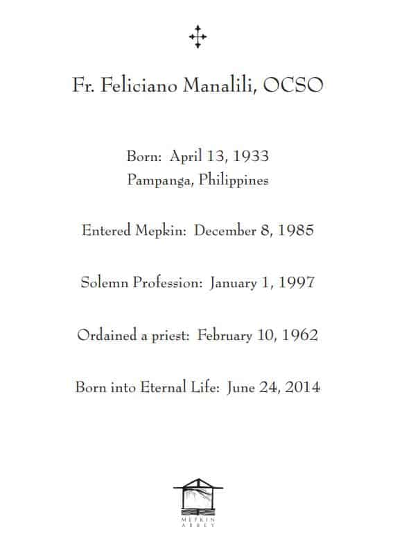 Father Feliciano Died on June 24