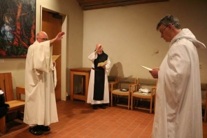 Father Columba receives the novice habit
