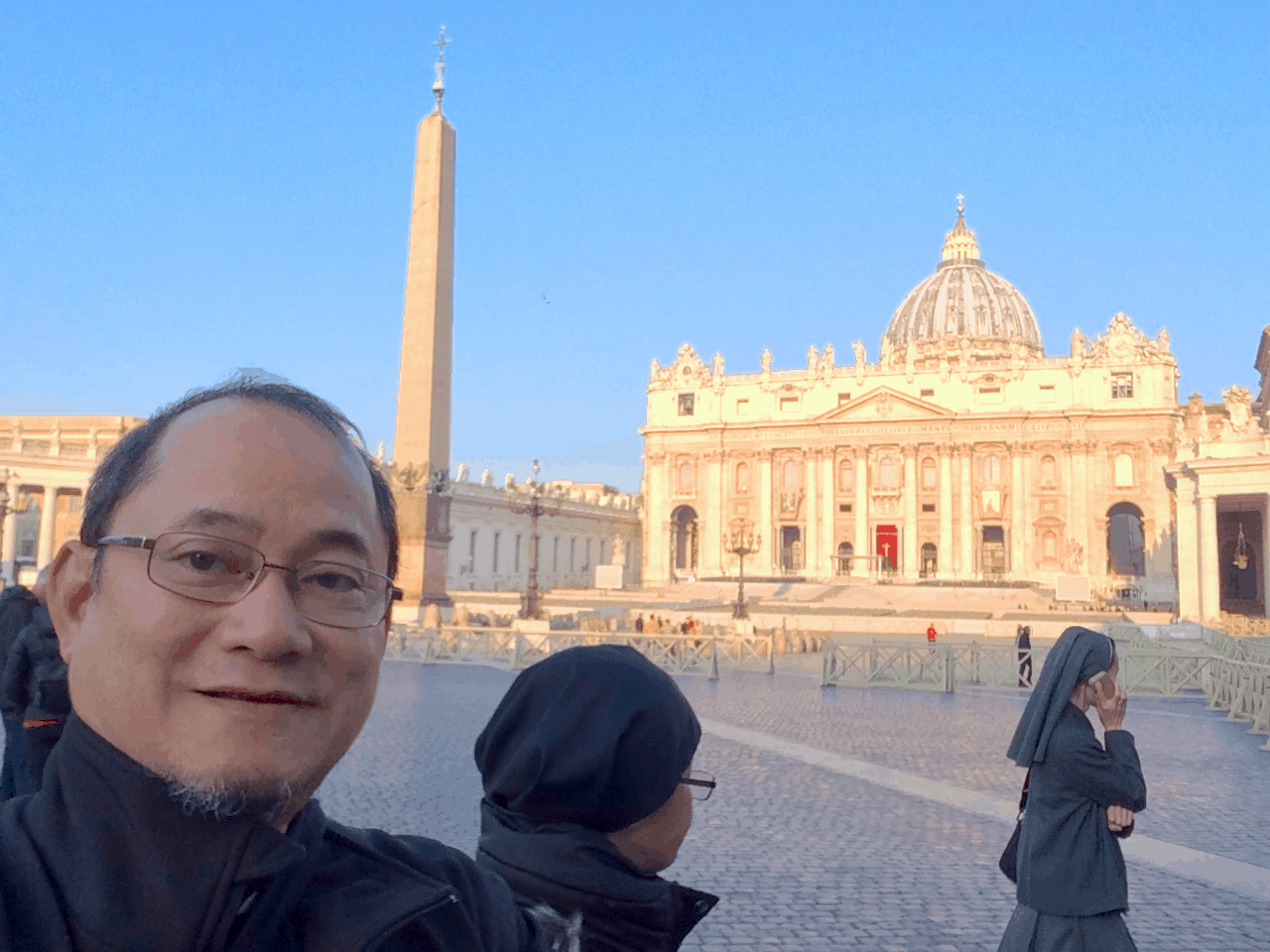 St Peter's Square - up for security check to enter the Basilica
