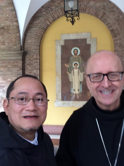 Fr. Jonas with Abbot Primate Gregory Polan, OSB