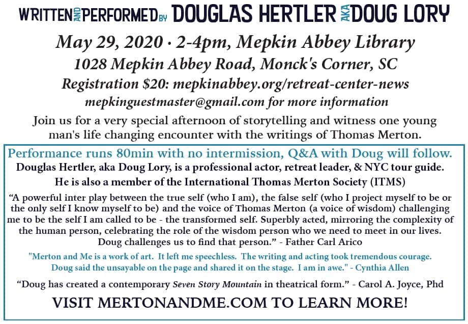 """Mepkin welcomes """"Merton and Me, a Living Performance"""
