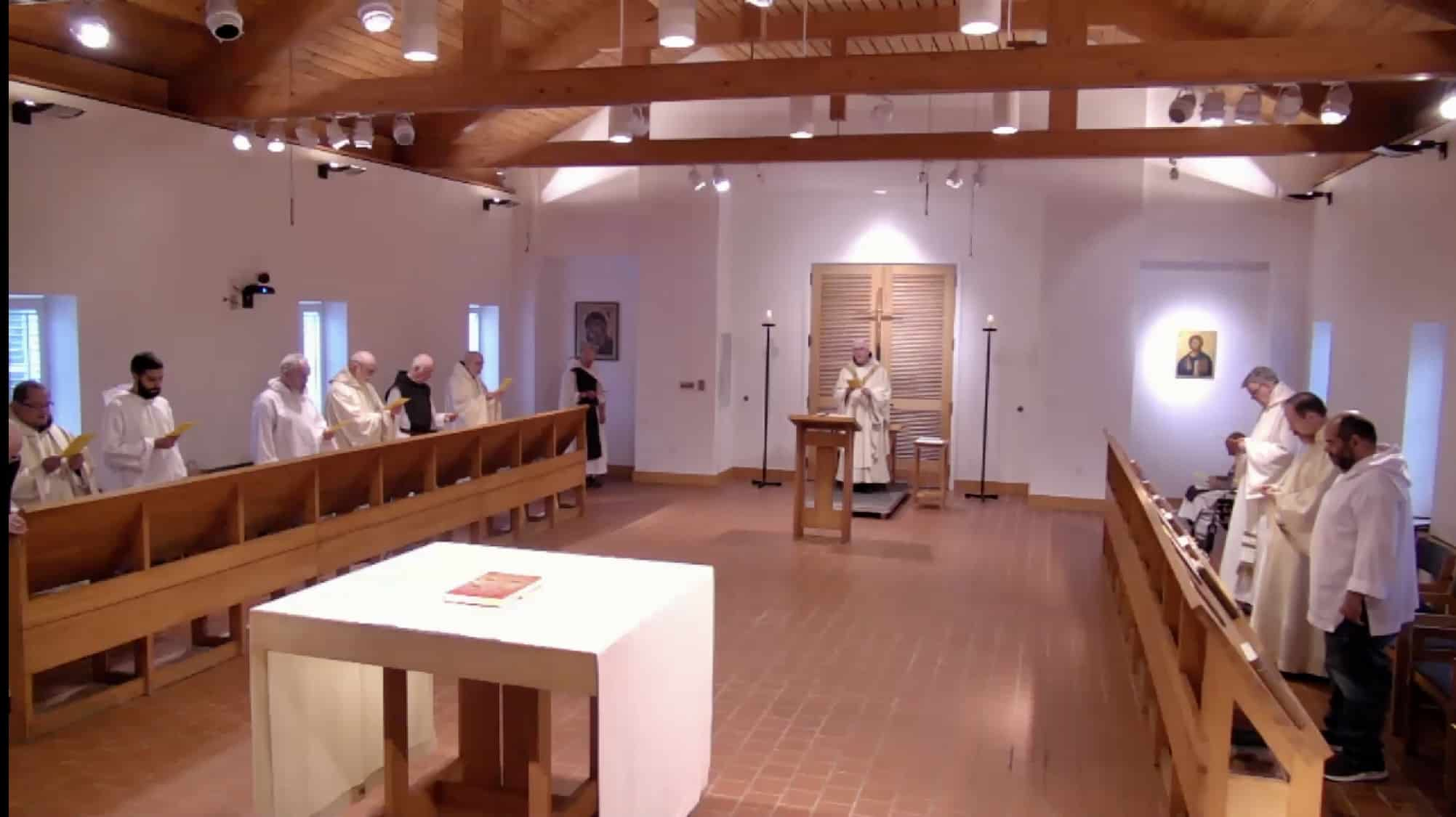 Monks Move Worship Into the Library; Work Begins on Church Interior